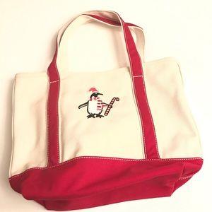 Lands End Canvas Tote Bag Holiday Bag Penguin